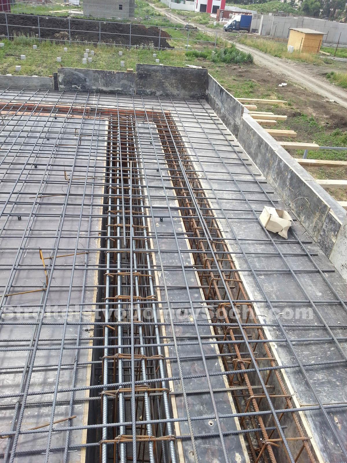 Армирование перекрытий и ригелей первого этажа